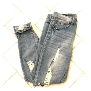 Light wash stretch skinny jeans.
